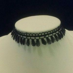 3/$15 Black Lace Choker with Fringe NWT
